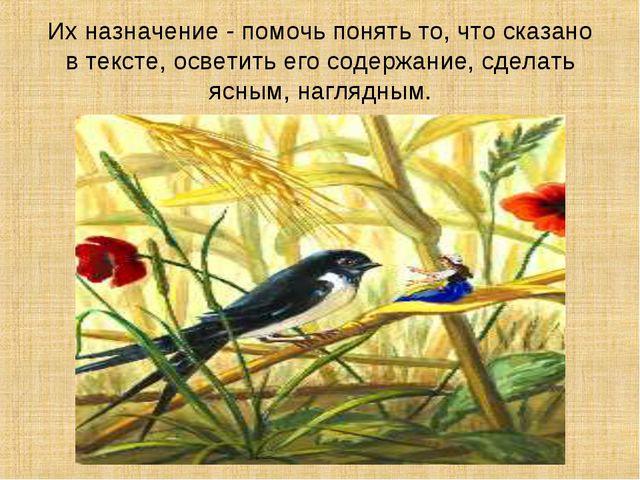 Их назначение - помочь понять то, что сказано в тексте, осветить его содержан...