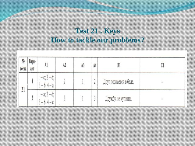Тest 21 . Keys How to tackle our problems?