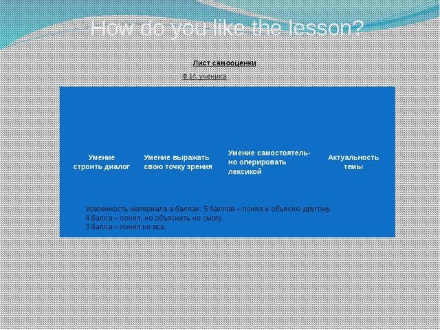 How do you like the lesson? Усвоенность материала в баллах: 5 баллов – понял...