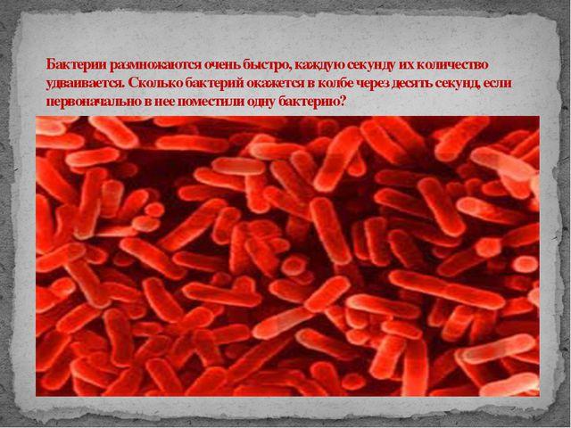 Бактерии размножаются очень быстро, каждую секунду их количество удваивается...