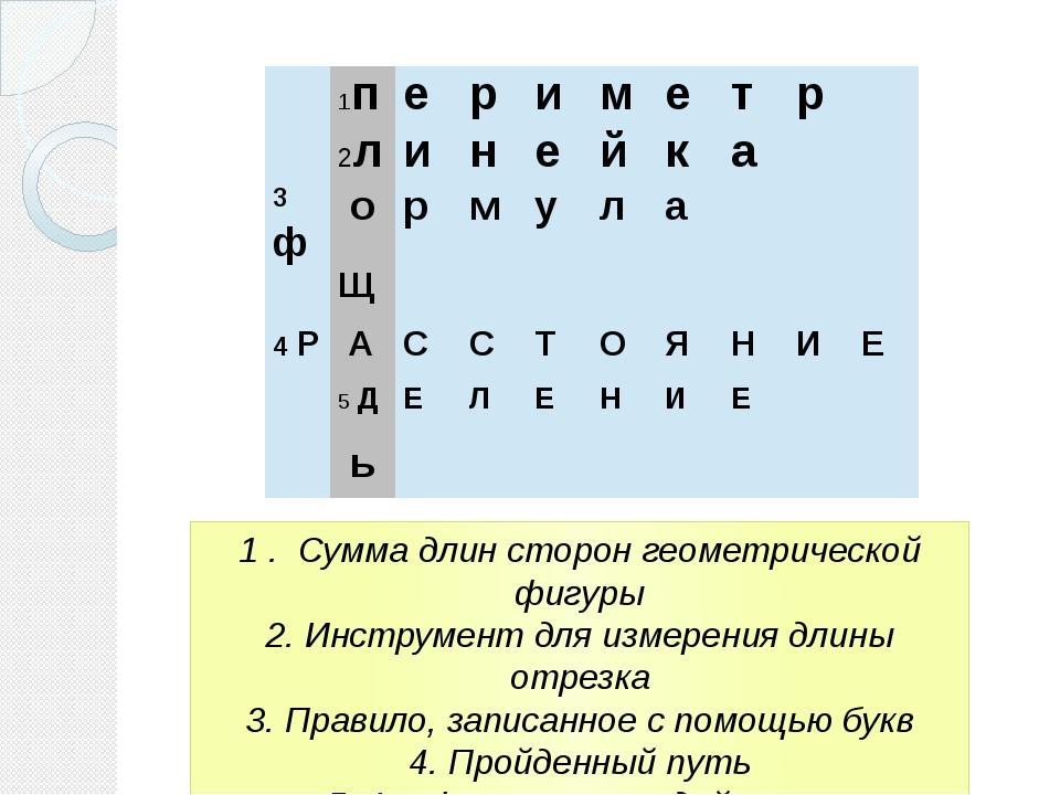 1 . Сумма длин сторон геометрической фигуры 2. Инструмент для измерения длины...