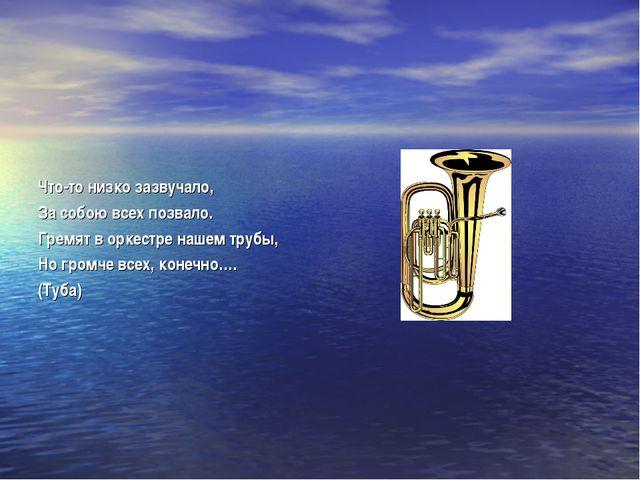 Что-то низко зазвучало, За собою всех позвало. Гремят в оркестре нашем трубы...