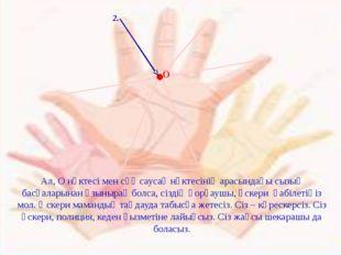 2. Ал, О нүктесі мен сұқ саусақ нүктесінің арасындағы сызық басқаларынан ұзы