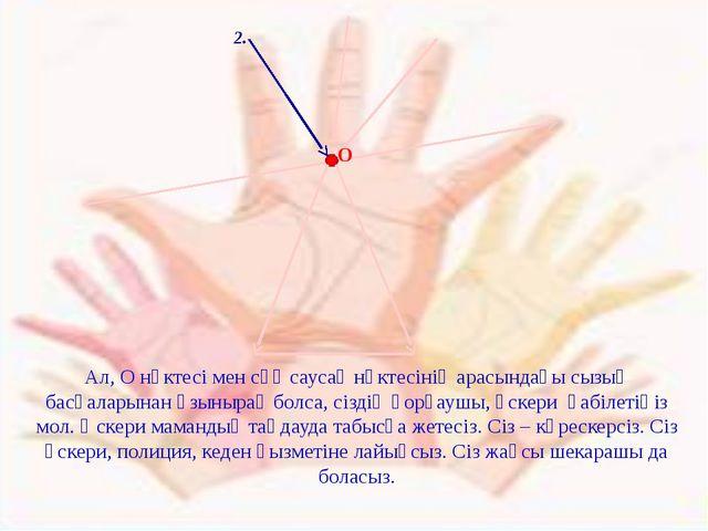 2. Ал, О нүктесі мен сұқ саусақ нүктесінің арасындағы сызық басқаларынан ұзы...