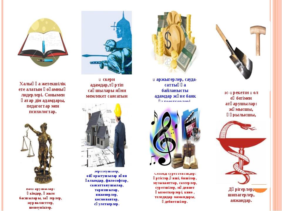 Халыққа жетекшілік ете алатын қоғамның лидерлері. Сонымен қатар дін адамдары,...