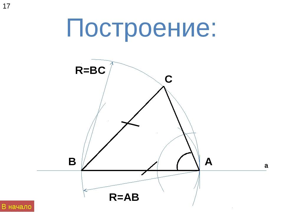 Построение: а А В С R=AB R=BC 17 В начало