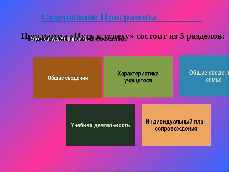 Содержание Программы Программа «Путь к успеху» состоит из 5 разделов: