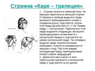 Стрижка «Каре – трапеция» 1. Стрижку начните в теменной зоне. На макушке па