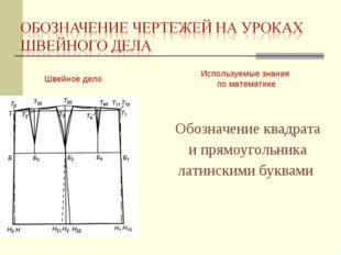 Швейное дело Используемые знания по математике Обозначение квадрата и прямоуг