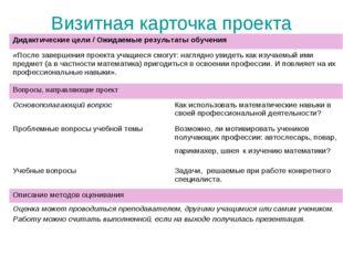 Визитная карточка проекта Дидактические цели / Ожидаемые результаты обучения