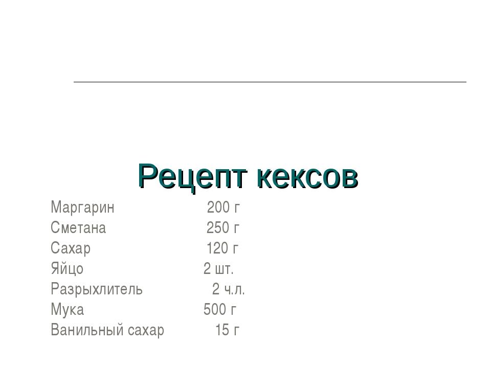 Рецепт кексов Маргарин 200 г Сметана 250 г Сахар 120 г Яйцо 2 шт. Разрыхлител...
