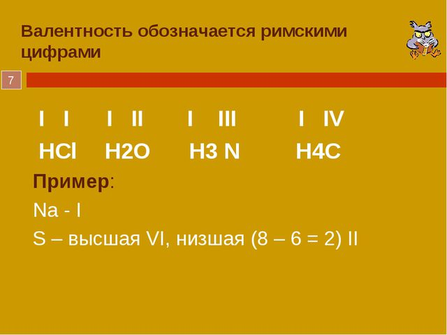 Валентность обозначается римскими цифрами I I I II I III I IV HCl H2O H3 N...