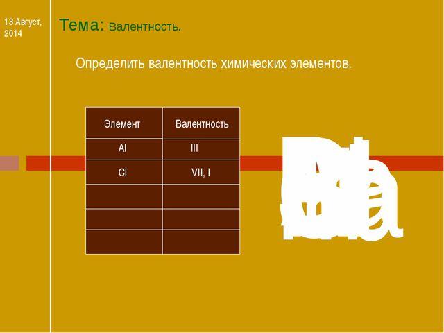 Тема: Валентность. 13 Август, 2014 Определить валентность химических элементо...
