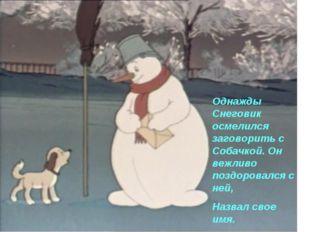 Однажды Снеговик осмелился заговорить с Собачкой. Он вежливо поздоровался с н