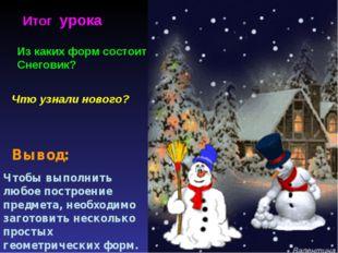 Что узнали нового? Итог урока Из каких форм состоит Снеговик? Вывод: Чтобы вы
