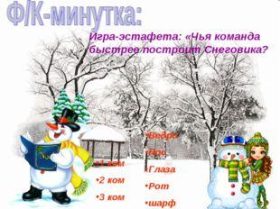 Игра-эстафета: «Чья команда быстрее построит Снеговика? 1 ком 2 ком 3 ком Вед