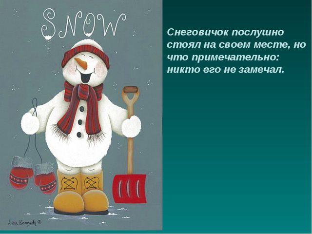 Снеговичок послушно стоял на своем месте, но что примечательно: никто его не...