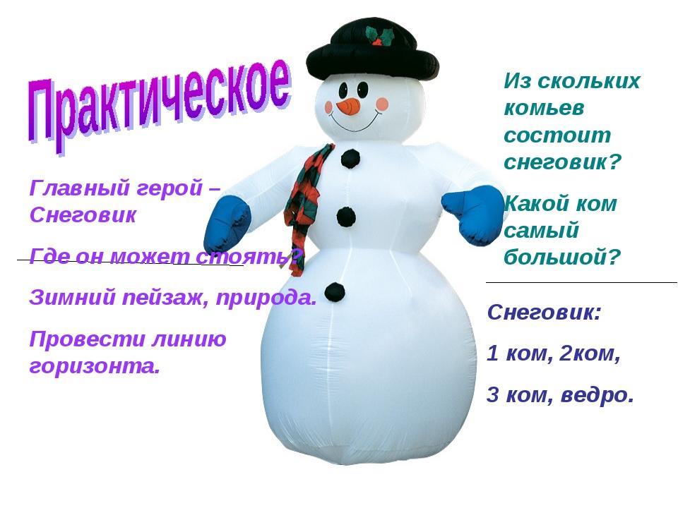 Главный герой – Снеговик Где он может стоять? Зимний пейзаж, природа. Провест...