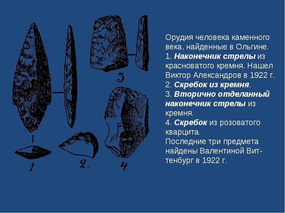 Орудия человека каменного века, найденные в Ольгине. 1. Наконечник стрелы из...