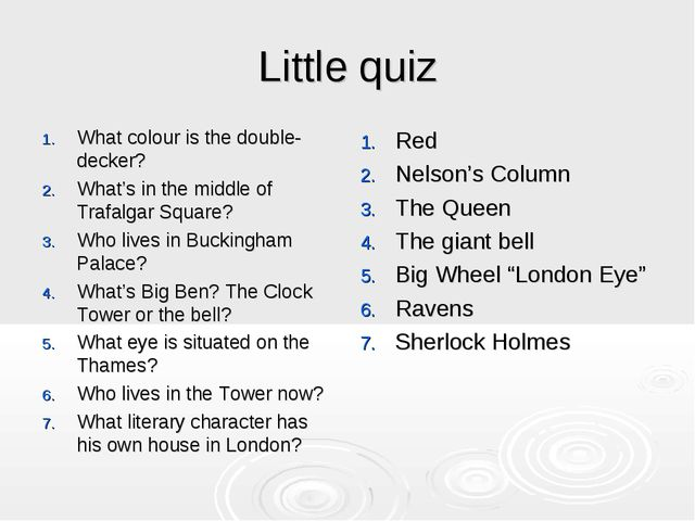 Little quiz What colour is the double-decker? What's in the middle of Trafalg...