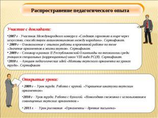 Распространение педагогического опыта Участие с докладами: 2007 г - Участник