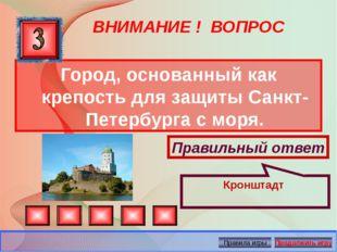 ВНИМАНИЕ ! ВОПРОС Город, основанный как крепость для защиты Санкт-Петербурга