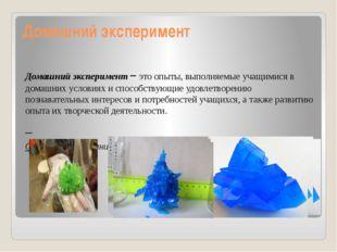 Домашний эксперимент Домашний эксперимент – это опыты, выполняемые учащимися