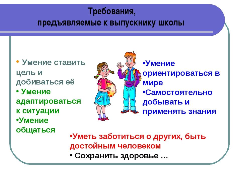 Требования, предъявляемые к выпускнику школы Умение ставить цель и добиваться...