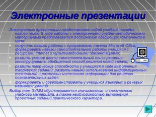 Электронные презентации Электронные презентации представляют собой учебные по