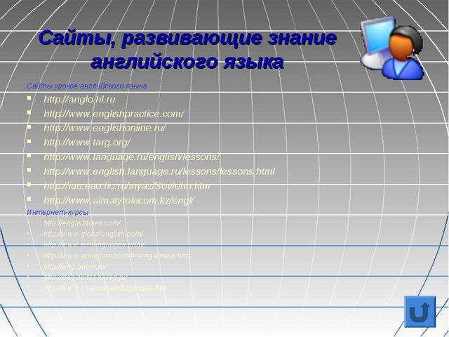 Сайты, развивающие знание английского языка Сайты уроков английского языка ht...