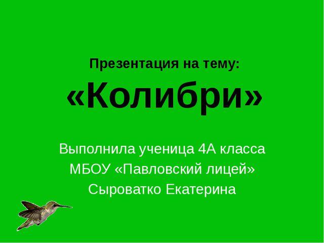 Презентация на тему: «Колибри» Выполнила ученица 4А класса МБОУ «Павловский л...