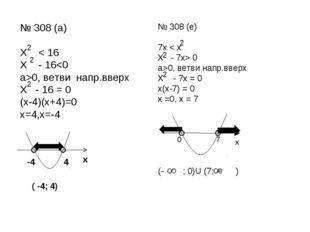 № 308 (а) Х < 16 Х - 160, ветви напр.вверх Х - 16 = 0 (х-4)(х+4)=0 х=4,х=-4