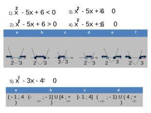 1). х - 5х + 6 < 0 2 2). х - 5х + 6 > 0 3). х - 5х + 6 0 4). х - 5х + 6 0 2 2