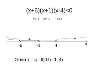 х -6 4 -1 + + __ __ (х+6)(х+1)(х-4)