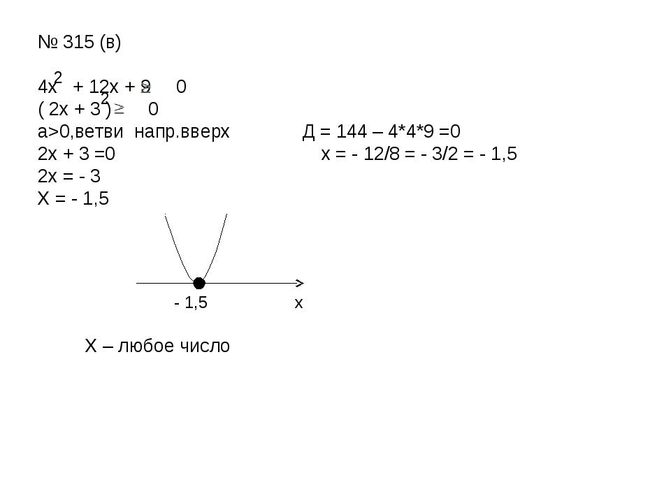 № 315 (в) 4х + 12х + 9 0 ( 2х + 3 ) 0 а>0,ветви напр.вверх Д = 144 – 4*4*9 =0...