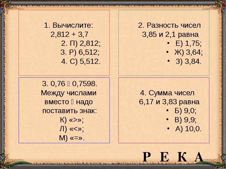 Вычислите: 2,812 + 3,7 П) 2,812; Р) 6,512; С) 5,512. 2. Разность чисел 3,85...