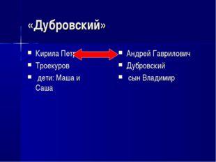 «Дубровский» Кирила Петрович Троекуров дети: Маша и Саша Андрей Гаврилович Ду