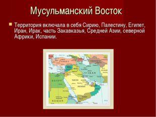 Территория включала в себя Сирию, Палестину, Египет, Иран, Ирак, часть Закавк