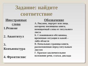 Задание: найдите соответствие Иностранные слова Резюме 2. Авантитул 3. Конъюн