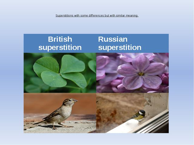 Superstitions with some differences but with similar meaning.   British supe...