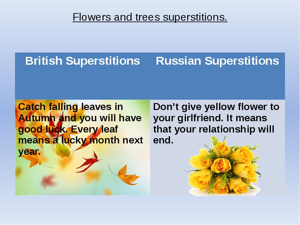Flowers and trees superstitions. British Superstitions Russian Superstitions...