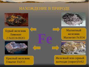 Fe Железный или серный колчедан (пирит)FeS2 Красный железняк Гематит Fe2O3 Б