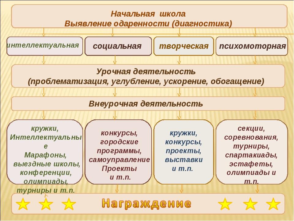 Начальная школа Выявление одаренности (диагностика) интеллектуальная социальн...