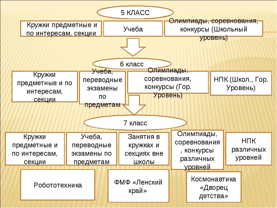 5 КЛАСС Кружки предметные и по интересам, секции Учеба Олимпиады, соревновани...
