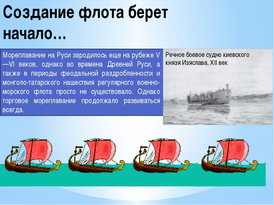 Создание флота берет начало… Мореплавание на Руси зародилось еще на рубеже V—...