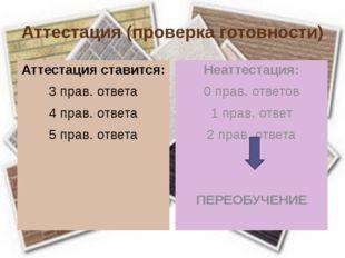 Аттестация (проверка готовности) Аттестация ставится: 3 прав. ответа 4 прав.