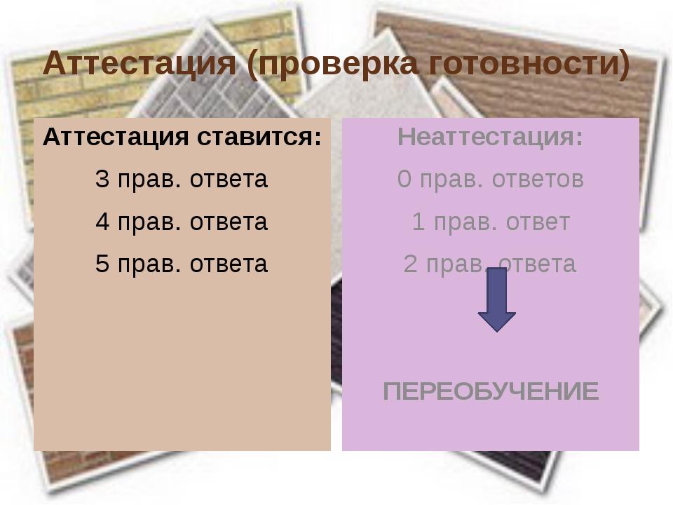 Аттестация (проверка готовности) Аттестация ставится: 3 прав. ответа 4 прав....