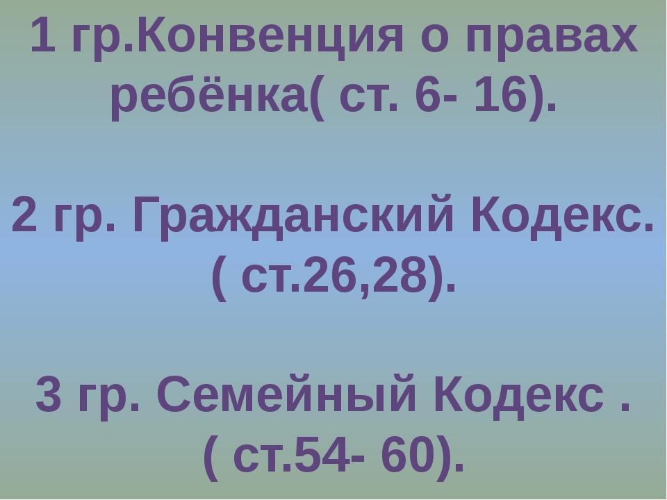 1 гр.Конвенция о правах ребёнка( ст. 6- 16). 2 гр. Гражданский Кодекс. ( ст.2...