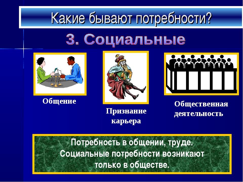 Какие бывают потребности? Потребность в общении, труде. Социальные потребност...