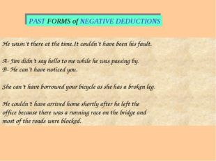 PAST FORMS of NEGATIVE DEDUCTIONS He wasn't there at the time.It couldn't hav